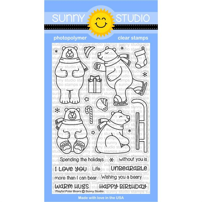 * XMAS* Sunny Studio - Playful Polar Bears Stamps