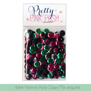 Pretty Pink Posh - 6mm Festive Holly-Days Sequins