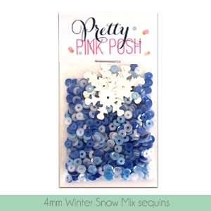 Pretty Pink Posh - 4mm Winter Snow Sequins Mix