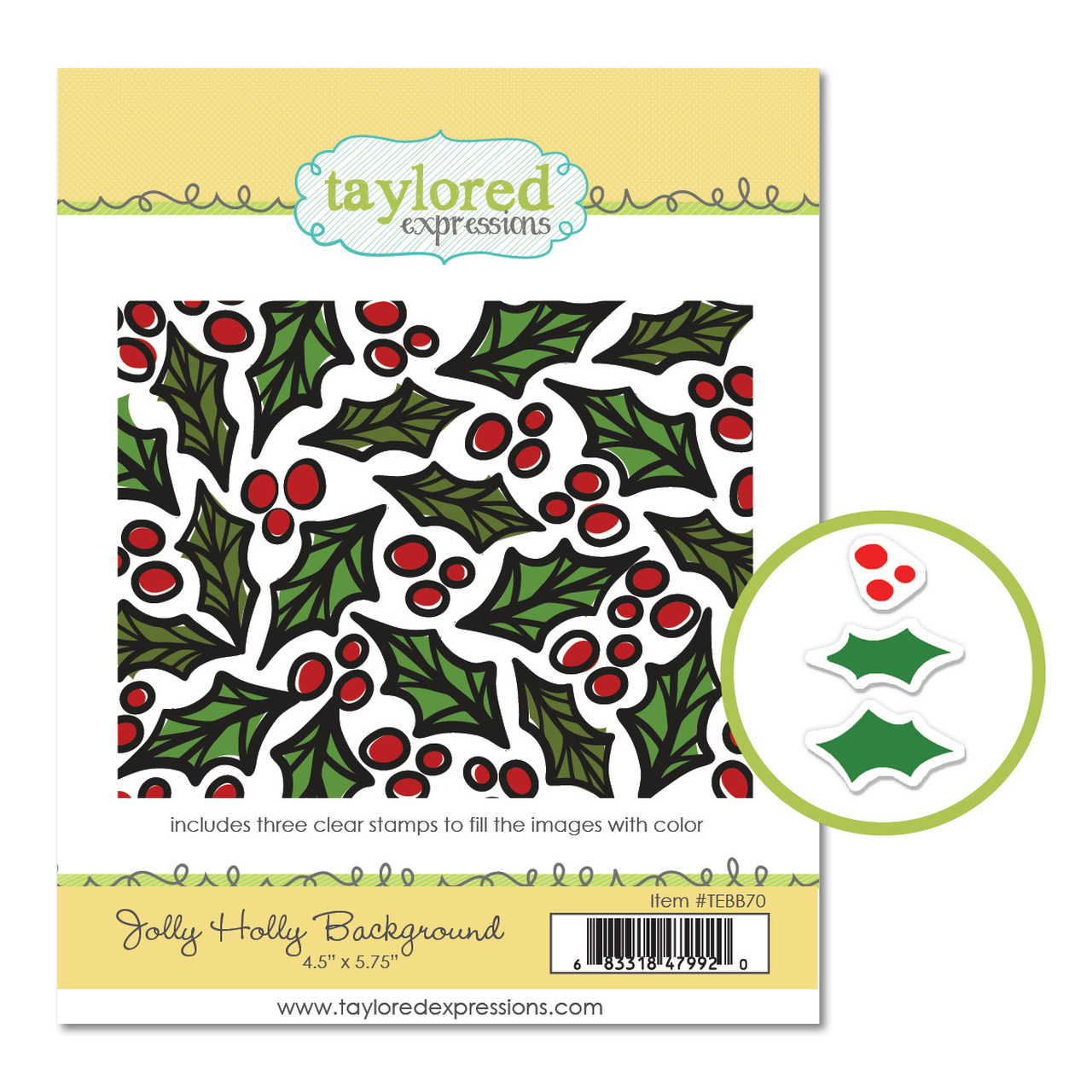 Taylored Expression - Jolly Holly Cling & Clear Stamp Combo