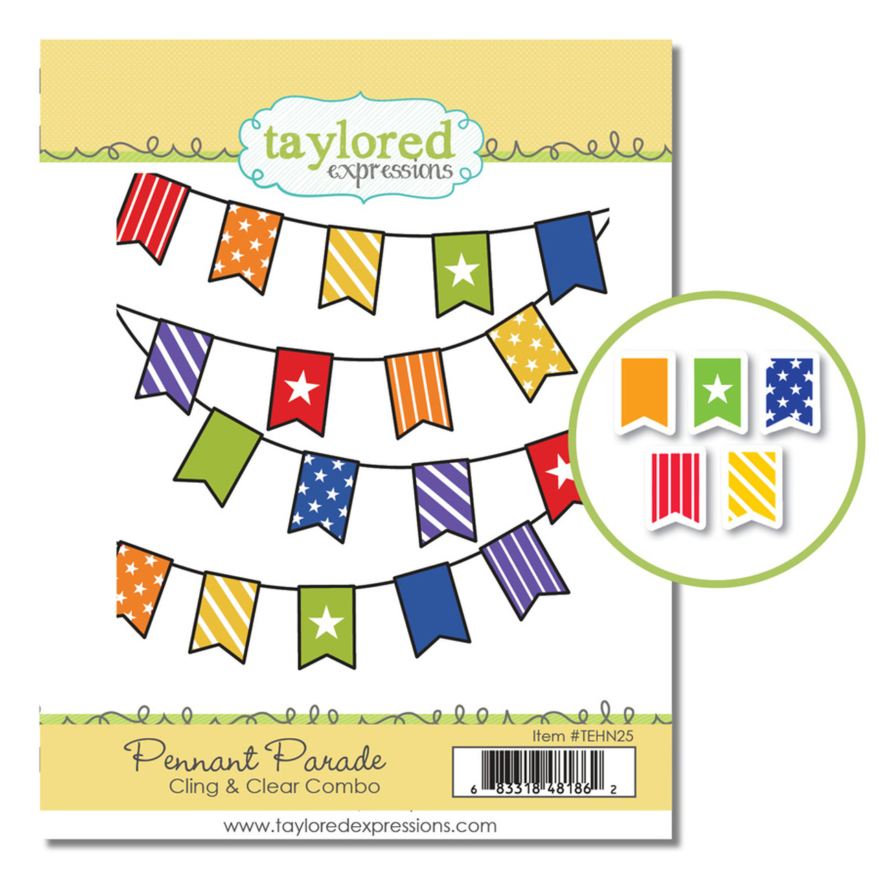 *NEW* - Taylored Expression - PENNANT PARADE CLING & CLEAR COMBO