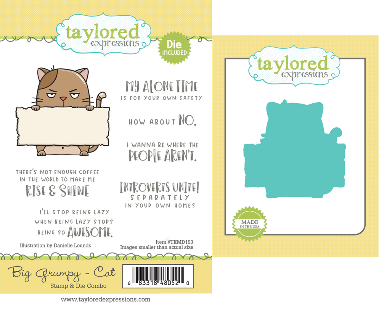 *NEW* - Taylored Expression - Big Grumpy - Cat Stamp & Die Combo