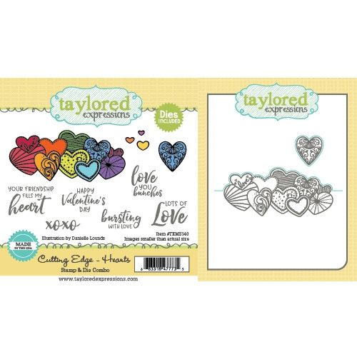Taylored Expression - Cutting Edge - Hearts Stamp & Die Combo