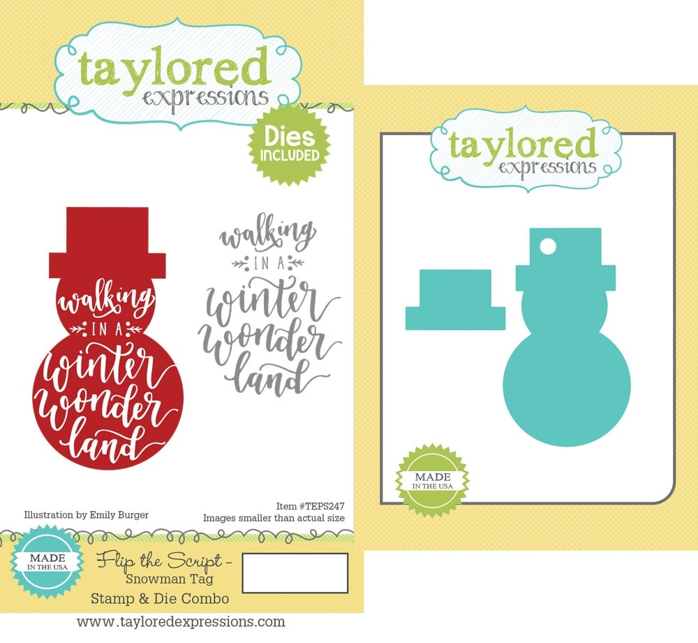 Taylored Expression - Flip the Script - Snowman Tag Stamp & Die Combo