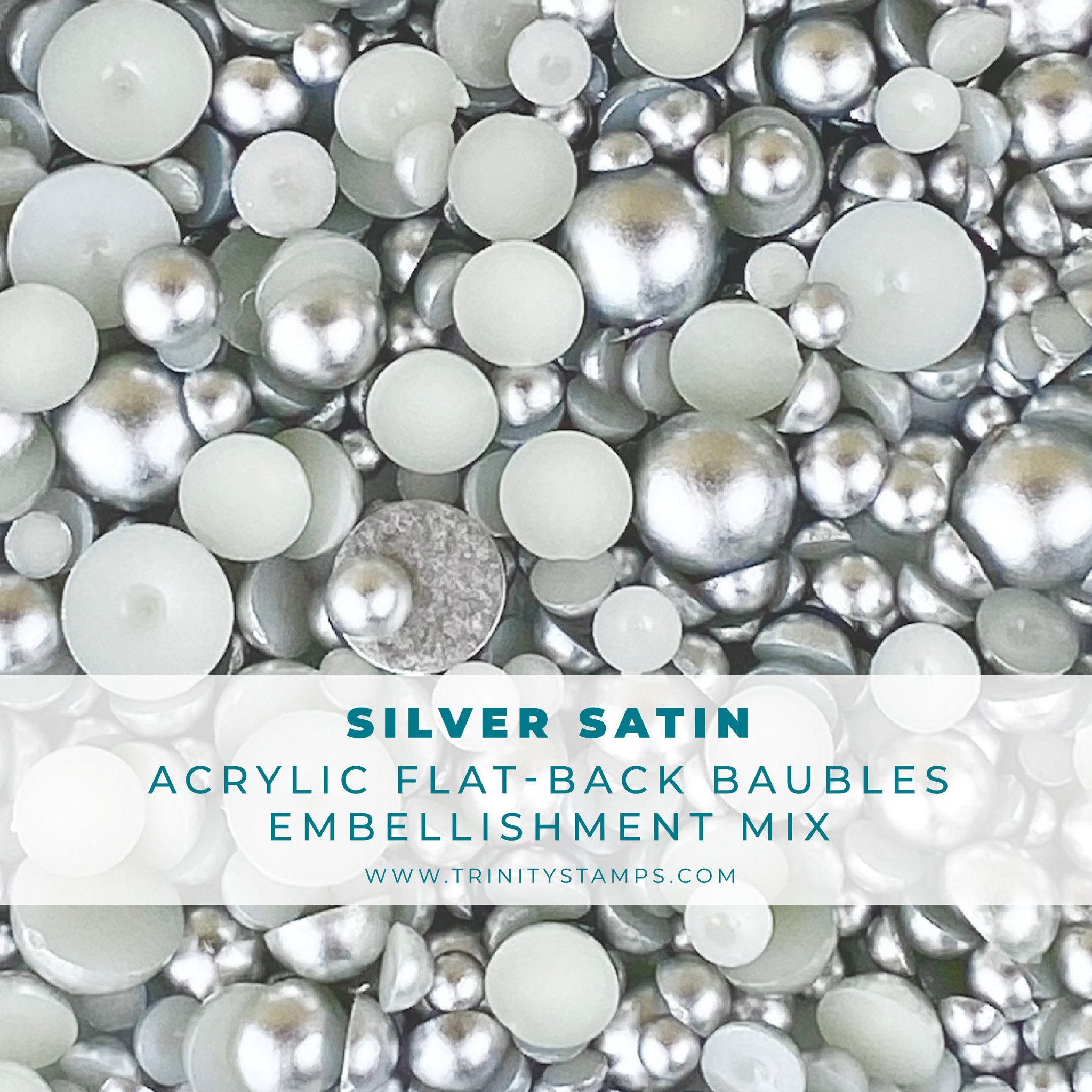 *NEW* - Trinity Stamps - Silver Satin Baubles Embellishment Mix
