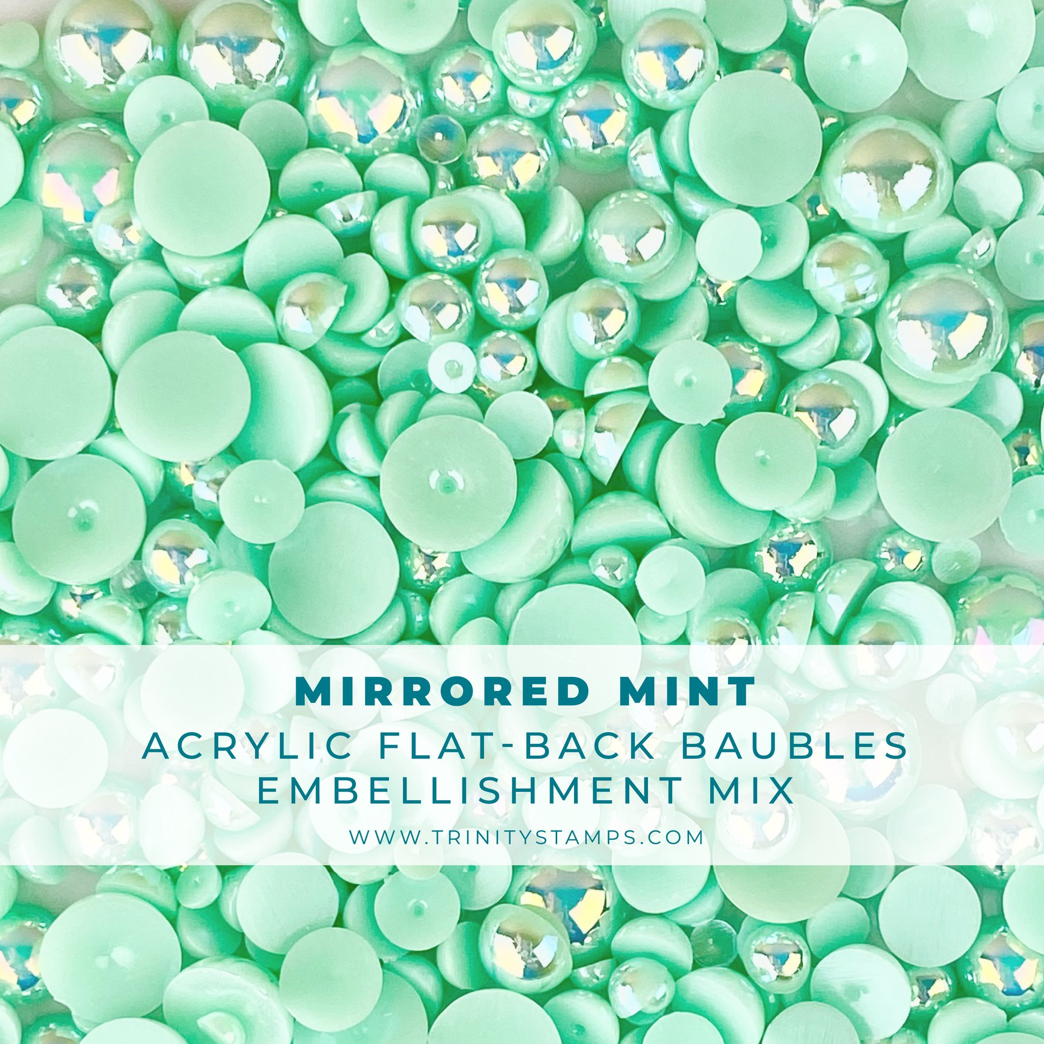 *NEW* - Trinity Stamps - Mirrored Mint Baubles Embellishment Mix