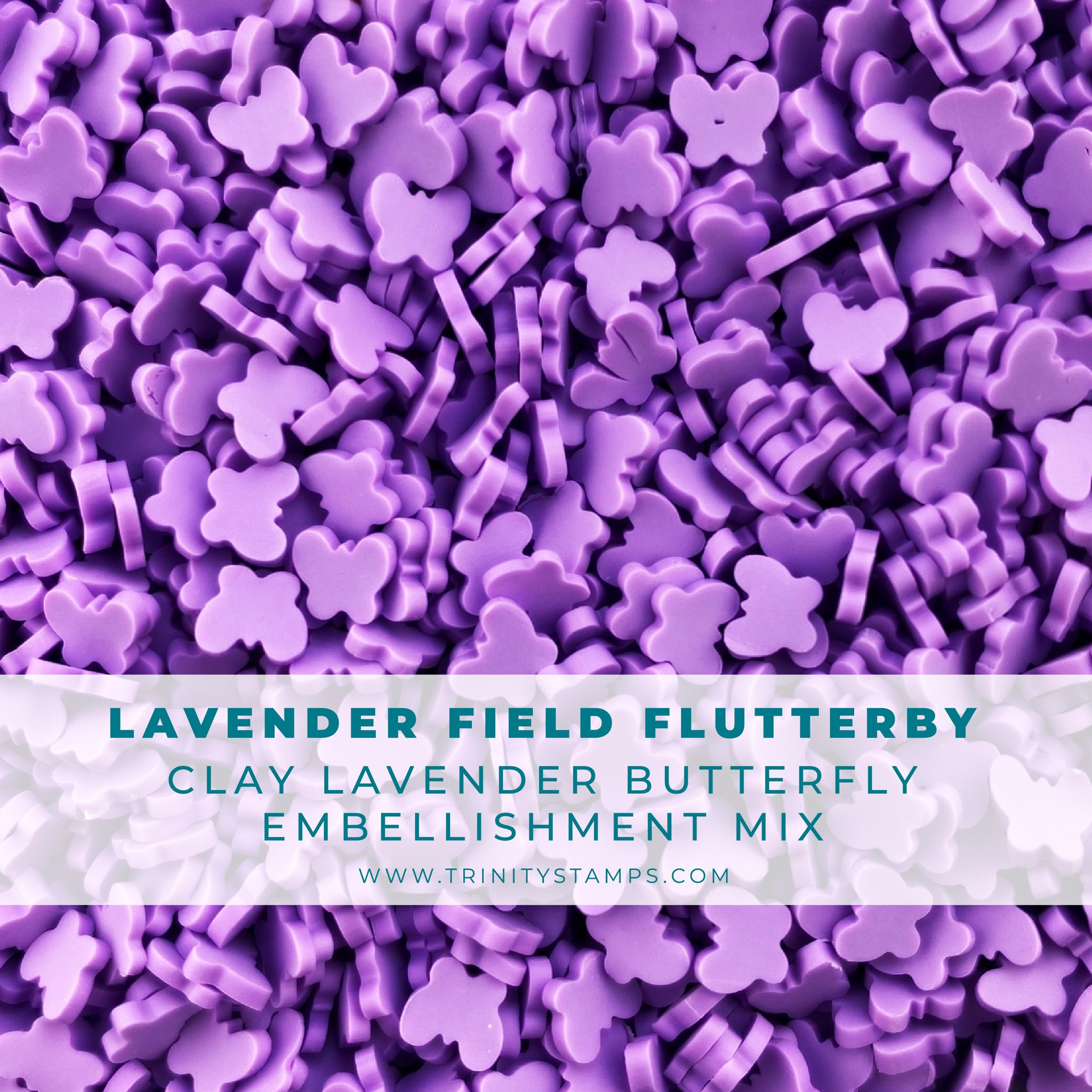 *NEW* - Trinity Stamps - Lavender Field Flutterby Clay Embellishment Mix