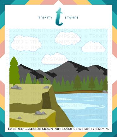 *NEW* - Trinity Stamps - Layered Lakeside Mountain - 6x6 Laser Cut 3-Piece Layering Stencil Set