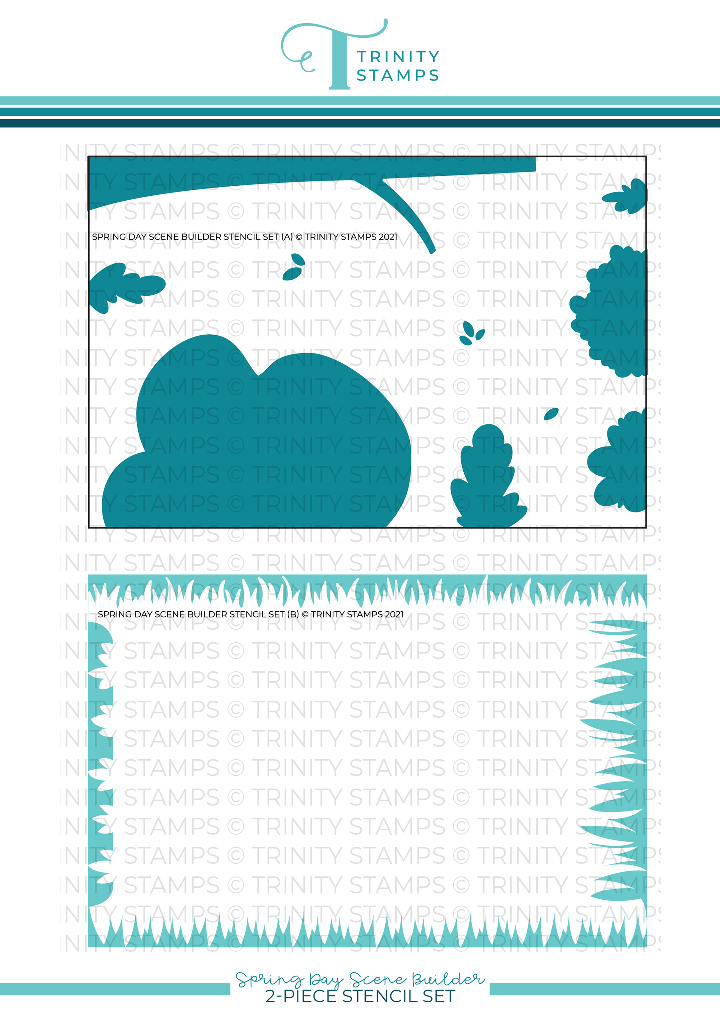 "*NEW* - Trinity Stamps - Spring Day Scene Builder - 6x9"" Laser Cut 2-piece Layering Stencil Set"