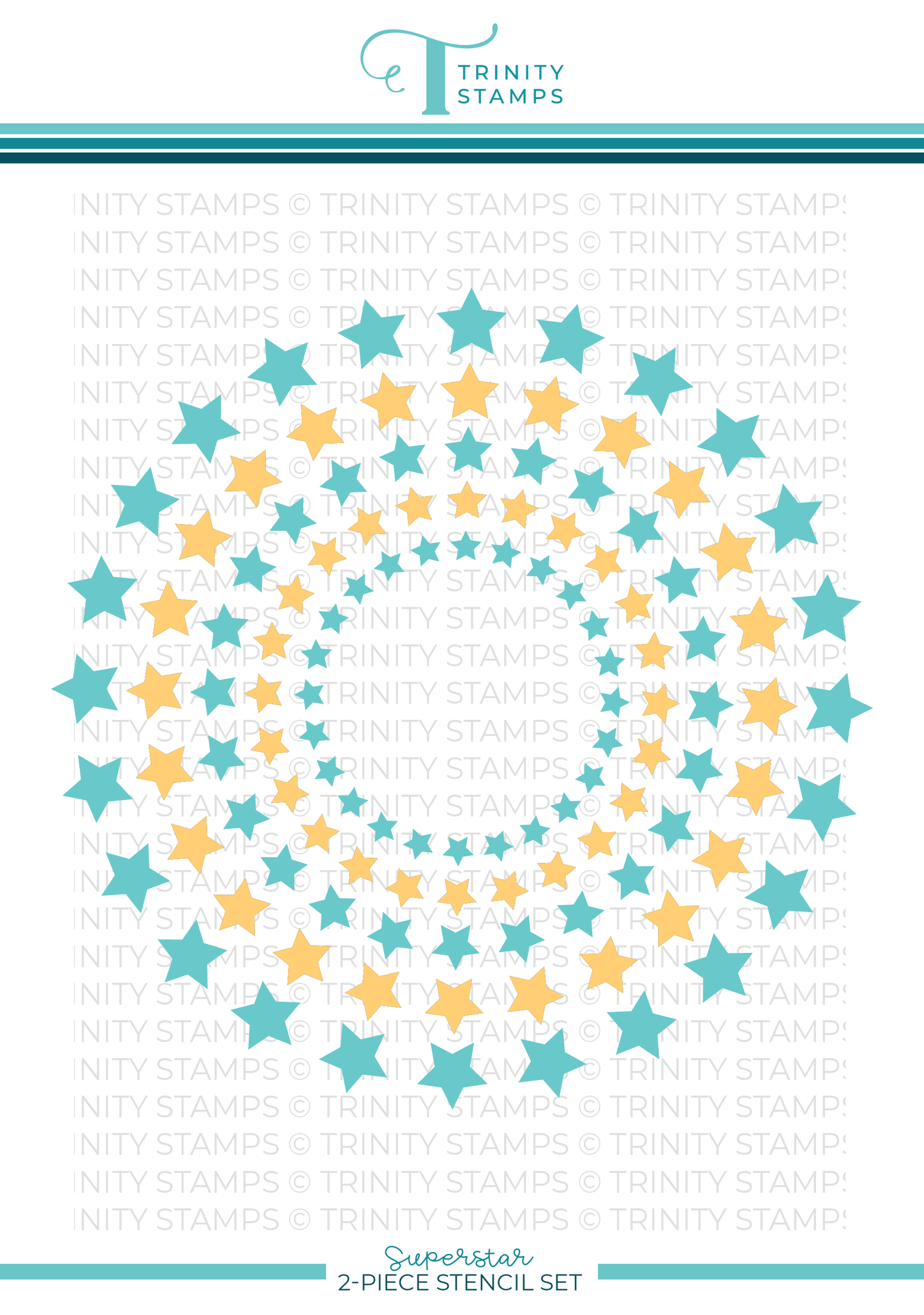"*NEW* - Trinity Stamps - Superstar - 6x6"" Laser Cut 2-piece Stencil Set"
