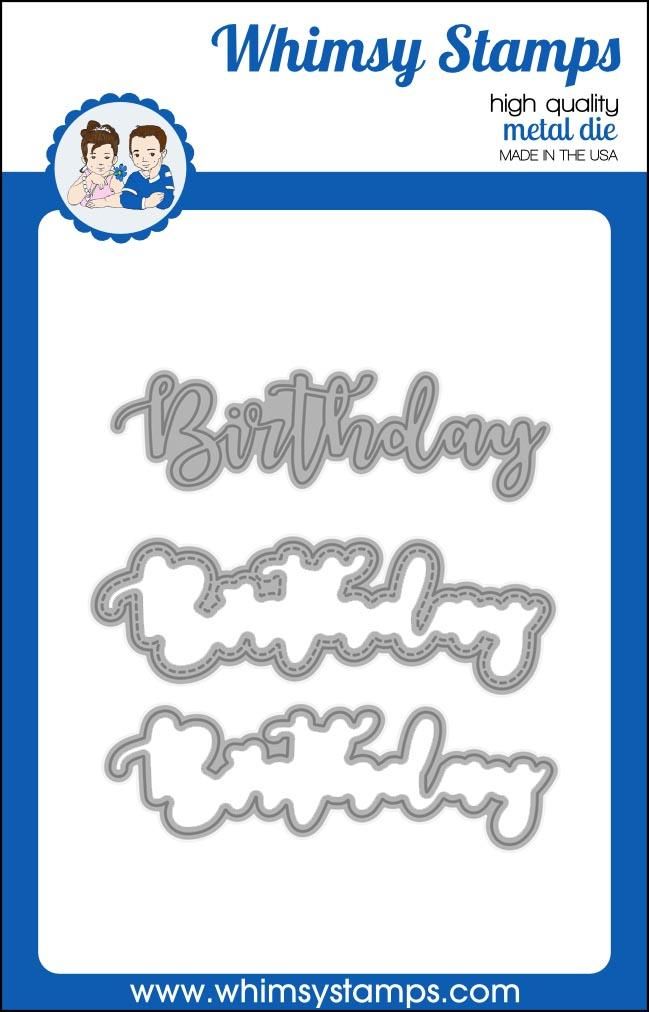*PRE-ORDER* - Whimsy Stamps - Birthday Word and Shadow Die Set