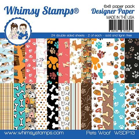 Whimsy Stamps - 6x6 Paper Pack - Pets Woof