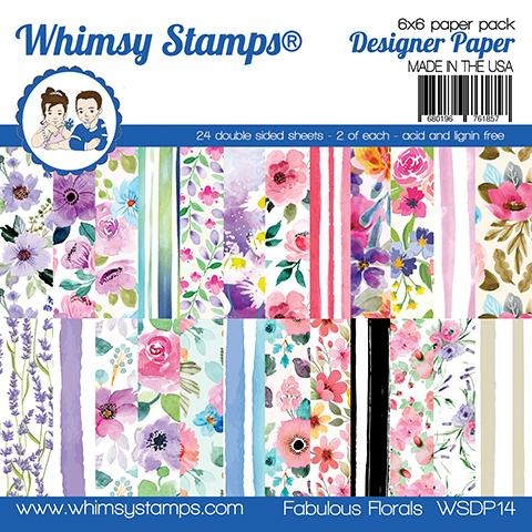 Whimsy Stamps - 6x6 Paper Pack - Fabulous Florals