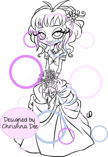CC Designs - Lil Lolita Bride Willow Rubber Stamp