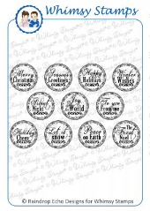 ###Whimsy Stamps - Holiday Mini Letter Seals - Sentiments Collection