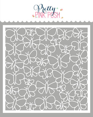 *NEW* - Pretty Pink Posh - Butterfly Background Stencil