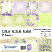 SP1 Whimsy Stamps - Purple Cottage Charms - Paper Packs and Enamel Dots