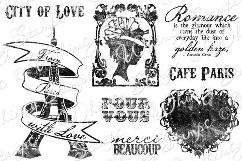 ###Whimsy Stamps - Parisian Romance - Sentiments Collection