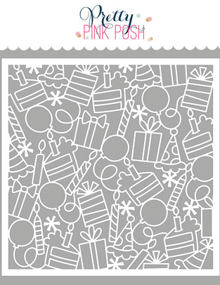 *NEW* - Pretty Pink Posh - Birthday Background Stencil