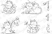 Whimsy Stamps - Wee Stamps - Playful Kittens - Wee Stamps